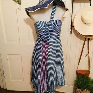 Anthropologie Sun Dress -10 P blues , cotton blend